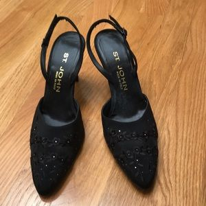 St. John black embroidered satin shoes, size 7AA